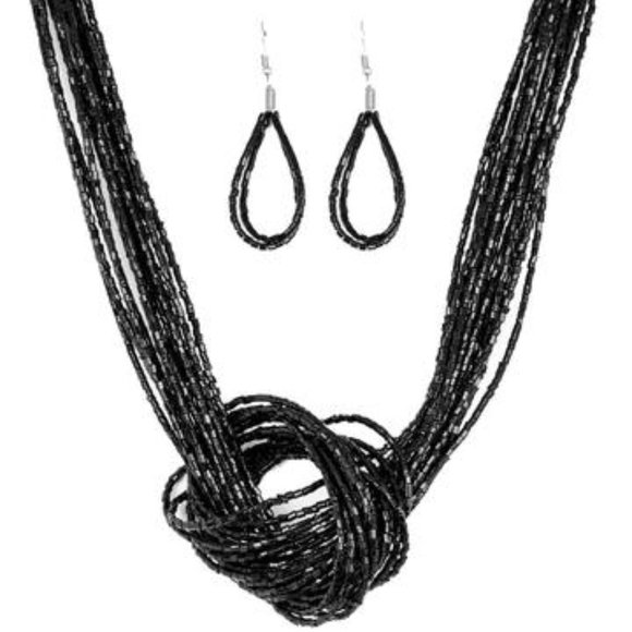 3/$20 Paparazzi Knotted Knockout Black Seed Bead Necklace & Earring Set